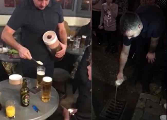 son pours father's ashes in drain outside pub